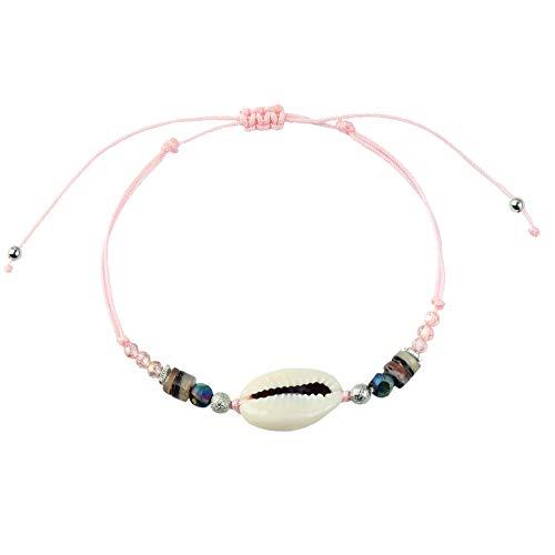 Made by Nami Armband Damen und Herren Freundschaftsarmband Surferarmband Perlenarmband Muschelarmband Armbänder - Surfer Schmuck mit Anhänger Muschel (Pink)