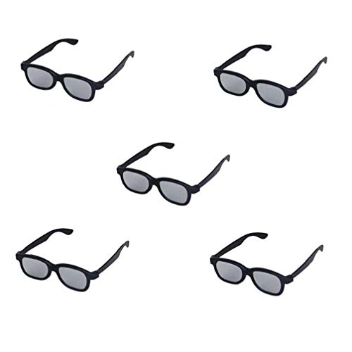 JRXyDfxn 5 Paar Erwachsene Passive Zirkular Polarisiert Objektiv 3D-Brille Für Film/Kino/Theater / 3D TV / 3D-Projektor Aus Schwarzem Kunststoff