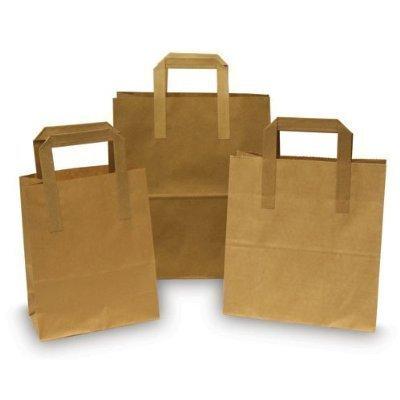 Swoosh Supplies - Sac en papier avec anses plates (lot de 25) - Marron - L (25 x 30,5 x 14 cm)