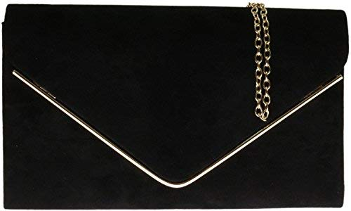 Faux Suede Tote Bag (H&G Ladies Faux Suede Clutch Bag Envelope Metallic Frame Plain Design - Black)