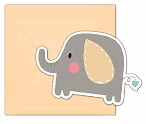 PROCOS 90497 - Invitaciones y Sobres (6 Unidades), diseño de Elefante, Color Naranja