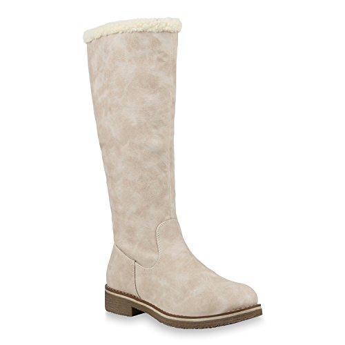 Stiefelparadies Klassische Damen Stiefel Warm Gefütterte Boots Winter Schuhe 153710 Creme Weiss 39 Flandell