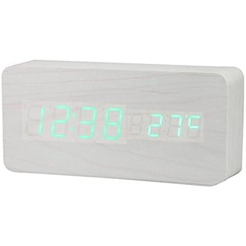 OAGHL Imitazione di legno carica LED legno orologio luminosità regolata automaticamente , 13 - Tredici Mesi Calendario