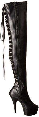 PleaserDELIGHT-3063 - Stivali classici sopra il ginocchio, non imbottiti  Donna Nero (Blk Str Faux Leather/Blk)