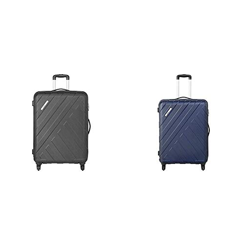 Safari Polycarbonate 56 cms Black Hardsided Carry On + Polycarbonate 77 cms Midnight Blue Hardsided Suitcases (HARBOUR 4W 55 + HARBOUR 4W 75)