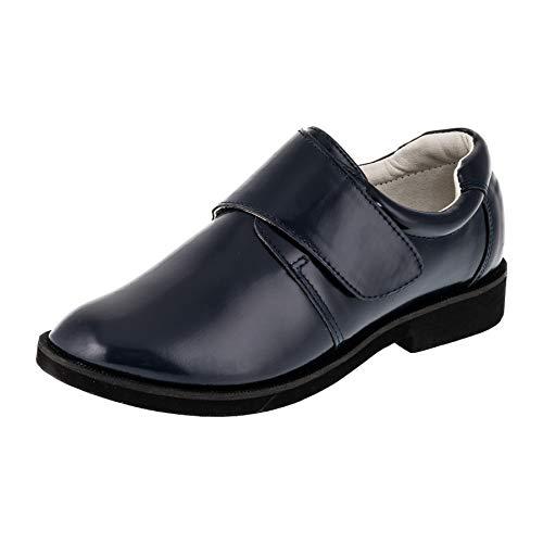 Giardino doro Edle Festliche Moderne Innen Leder Kinder Jungen Anzug Schuhe Klettverschluss M523bl Dunkel Blau 34 EU