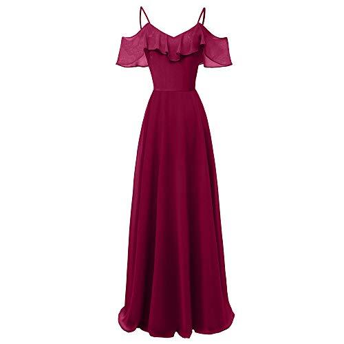 Kleid Damen Kolylong Frauen Elegant V-Ausschnitt Ärmellos Kleid Lang Vintage Schulterfrei...