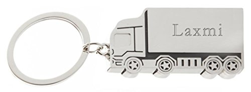 Custom engraved metal truck keychain with name: Laxmi (first name/surname/nickname)