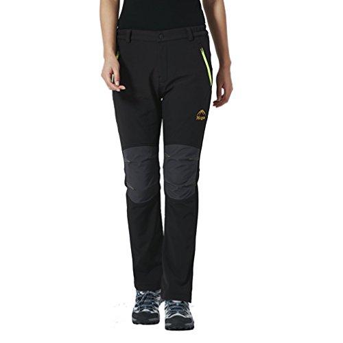 emansmoer Femme Pantalon Softshell Doublé Polaire Coupe-Vent Imperméable Outdoor Pantalon de Randonnée Camping Escalade