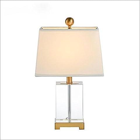 OOFWY E27 Tischlampe Moderne minimalistische Stil für Hotel Schlafzimmer Wohnzimmer Nachttisch Dekoration Weberei Lampshade Square Crystal Metall Schreibtischleuchten Höhe 49CM