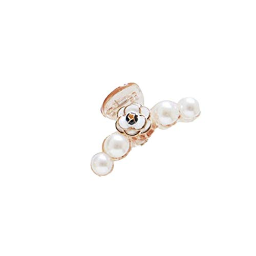 TINGSU Haarklammer für Frauen und Mädchen, Haarklammer, Kamelienen-Perlen-Greifer