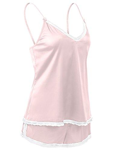 CRAVOG 2016 Sexy Pyjama Satin 2 Pièce Ete Femme Lingerie Nuisette Sleepwear Camisole Bretelle Dentelle + Short Rose