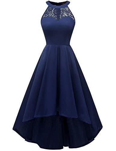 Dresstells Damen 1950 Neckholder Vintage Retro Rockabilly Kleid mit Spitzenoberteil Cocktail Petticoat Kleider Navy L Neckholder Kurz Kleid Cocktail-kleid