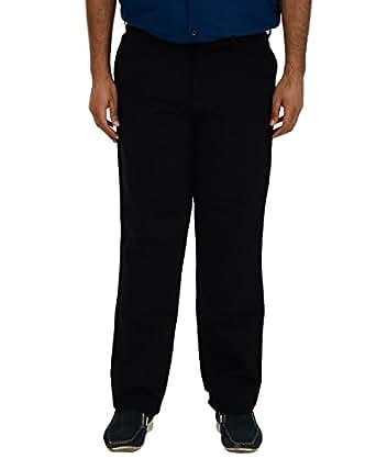 PAN America Men's Straight Trouser (895_30_Black, Black, 30)