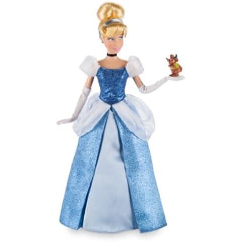 Cenicienta clásica muñeca que llevaba un vestido azul brillante con una malla blanca peplum y puff