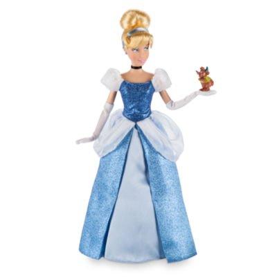 Cenicienta clásica muñeca que llevaba un vestido azul brillante con una malla blanca peplum y puff mangas