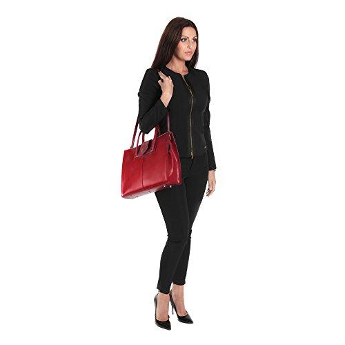 Pelle Cartello Da Borsa Cm Donna In 40x30x10 Donna In Cartella Italy Italiana Da Made Rosso gqZ5wAw