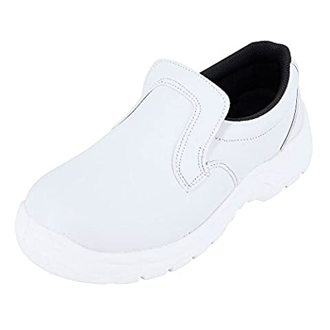 Chaussure de cuisine Blanche forme Mocassin Idéale Chaussure industrie agro