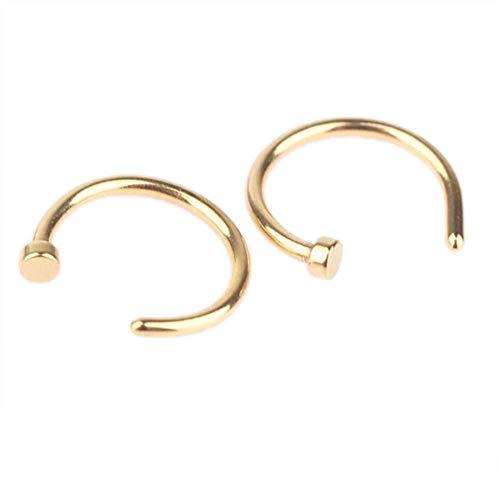 EROSPA® Nasen-Piercing-Ringe 2 Stück Schmuck Nasenring Nasenstecker Fake Hoop Lippe Ohr Gold 8 mm 1 Paar (Ohr-loch)