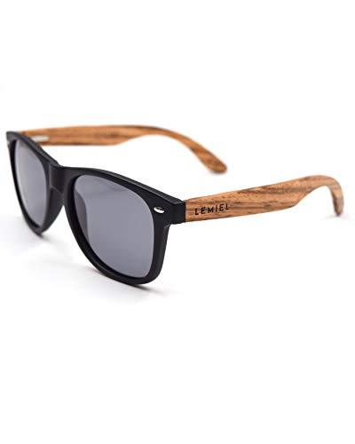 LEMIEL® Xavier - Sonnenbrille Herren Damen Holz Frauen Männer Holzsonnenbrillen aus Bambus   Holzbrillen (Zebraa)