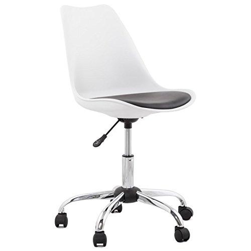 MK Chaise de Bureau Design Paul en Simili Cuir métal chromé (Blanc Noir)