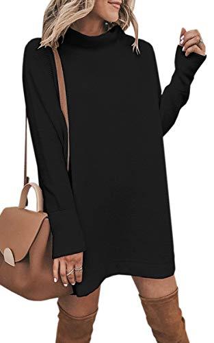 ECOWISH Damen Rollkragen Strickkleid Einfarbig Pullover Kleid Casual Lose Herbst Kleid Schwarz S -
