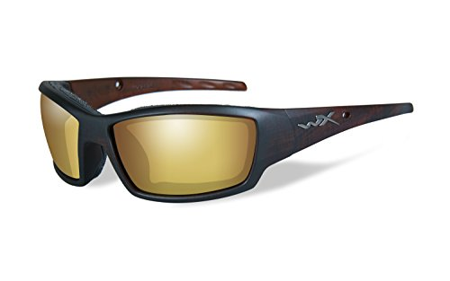 WILEY X TIDE Polarized Amber Gold Mirror Matte Hickory Brown Frame