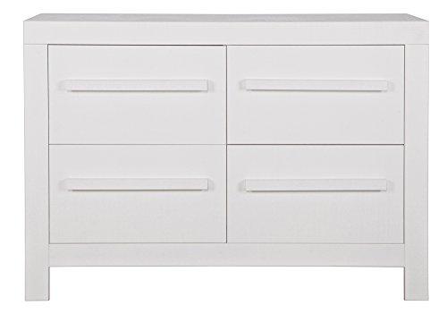 Commode pin de sciage blanc avec 4 tiroirs, H83 x L115 x P37 cm -PEGANE-