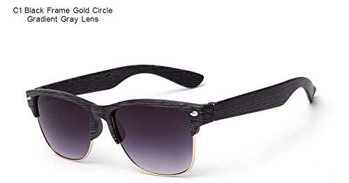 WDDYYBF Sonnenbrillen, Casual Fgrayion Classic Comfort Frame Holz Sonnenbrille Frauen Männer Holz- Brille Riet Brillen U400 Black Frame Gold Circle Gradient Graue Linse