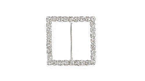 Quadrat mit Strass Kristall Diamant Schnalle Slider Verzierungen für Bänder Party Einladungen Hochzeit Karten oder Briefe Fashion Zubehör-32mm X 32mm (ca.)-145, farblos, Set of 10 (Handtasche Strass-schnalle)