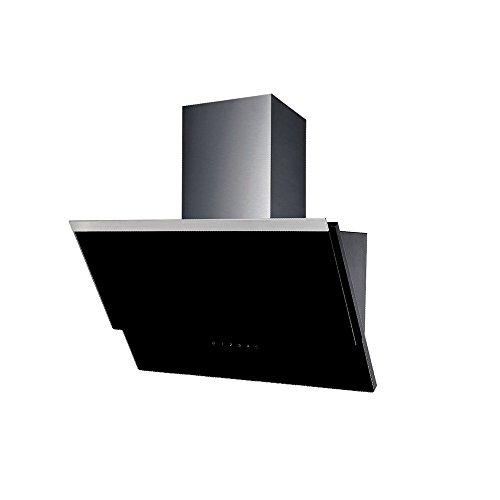 Design Qualität Kopffeie Dunstabzugshaube schräg Haube diagonal Wandhaube VLANO ERIS 600 BLACK / 60 cm / Glas Design / Touch Control / ECO LED / 50 dB / Extra leiser Motor / schwarz / INKL Rückschlagventil / INKL Abluftrohr (ca 2m )