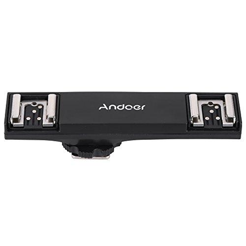 Andoer® Dual Hot Shoe Flash Bracket Light Splitter Speedlite for Canon 5DIII 7DII 5DR 5p 6D 70D DSLR Camera Camcorder (Flash-bracket Dual)