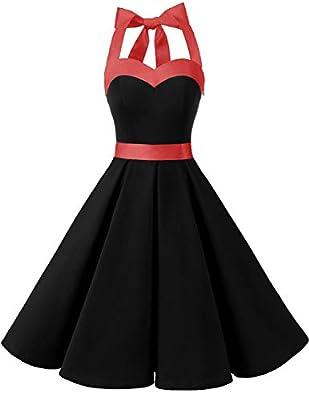 Dresstells® Womens 50s Retro Halter Rockabilly Polka Dots Vintage Audrey Cocktail Dress
