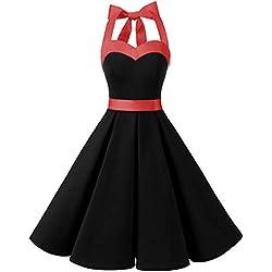 Dresstells® Halter 50s rockabilly polka dots Aaudrey dress retro cocktail black