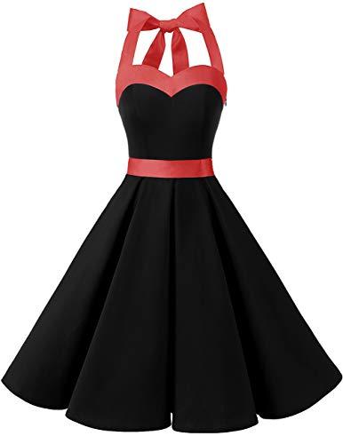 Dresstells Damen Neckholder 1950er Vintage Retro Rockabilly Kleider Petticoat Faltenrock Cocktail Festliche Kleider Black M -