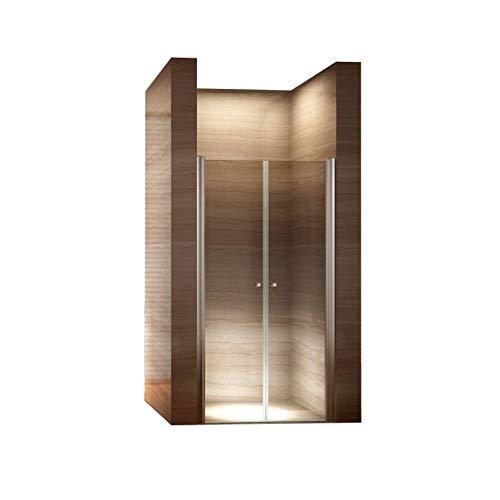 dusch falttuer i-flair 90cm - Verstellbereich von 88-92cm, Höhe: 195 cm, Duschabtrennung, Duschtür aus 6mm Sicherheitsglas mit Nanobeschichtung