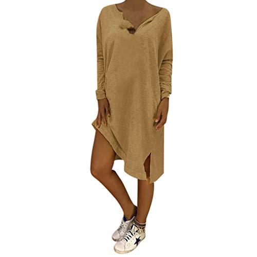 (LOPILY Lose Tunika Blusenkleider Damen Sommer Lässige Spitzensaum V-Ausschnitt Kleider Strandkleid Einfarbig Einfach Bequem Freizeit Knielang Sommerkleider Übergröße(X1-Khaki,EU-50/CN-5XL))