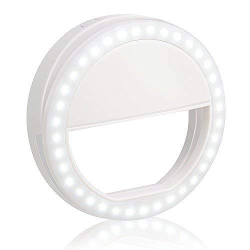 Selfie Ring Light,Rechargeable 36 a Mené le RempLissage-Lumière, Luminosité Réglable de 3 Niveaux sur Lappareil-Photo Allume les Lumières Visuelles, la Lumière de Nuit pour Smartphones, Comprim