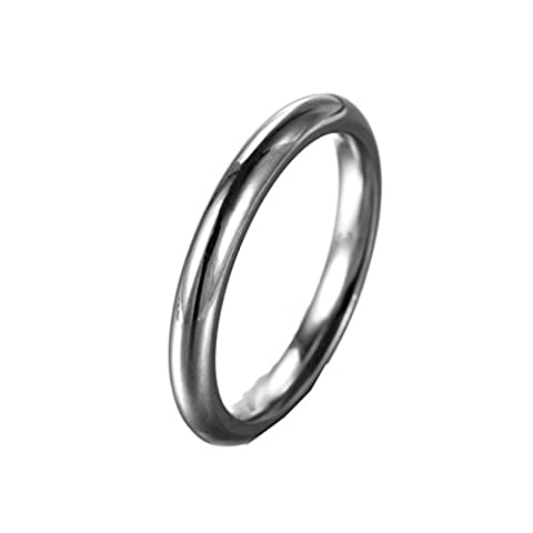 HIJONES Women's Stainless Steel Round Wire 1mm Plain Thin Band Ring Silver Size 8