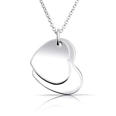 Bling Jewelry Engravable Coeur Double ID Tag Pendant Necklace Sterling Silver 16 pouces