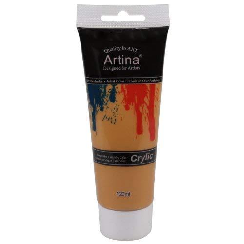 Artina Crylic Acrylfarben - hochwertige Künstler-Malfarbe in 120 ml Tuben in Gold & weitere Farben