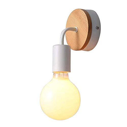Holz Weiß Metall Wandleuchte, Motivetech E27 Retro Wand Lampen für Innen Bettseite Esszimmer...