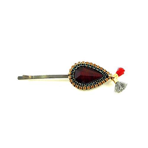 rougecaramel - Accessoires cheveux - Mini pince cheveux fantaisie strass et pompom - bordeaux