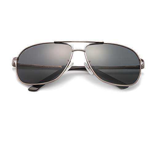 Polarisierte Sonnenbrille für Herren Classic Double Bridge Metallrahmen 100% UVA/UVB-Schutz Fashion Style (Gewehr(graue Linse))