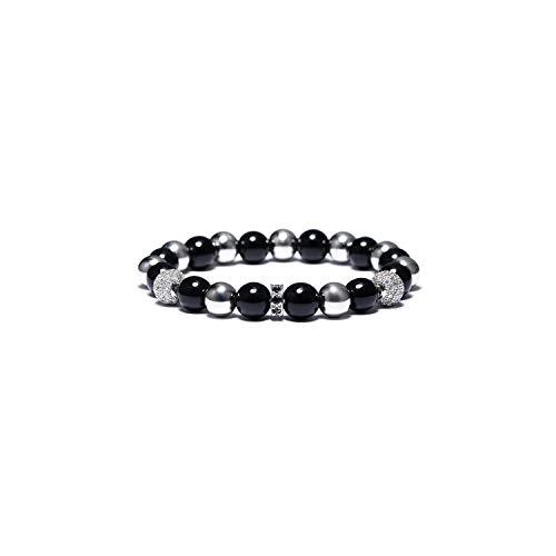 Awertaweyt Edelstein Perlen Armband Luxury 4 Color Shambhala Beads Charm Bracelete Black Crystal Stretch Braslet for Women Men Jewelry Bijoux Silver (David Yurman Ring Damen)