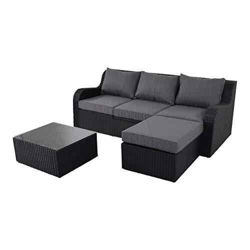 lifestyle4living Gartenbank 3 Sitzer aus Polyrattan Geflecht schwarz inkl. Kissen. Die Multifunktionsbank ist wetterfest, Gartenliege, für Garten, Terrasse und Balkon.