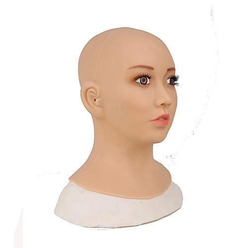 Queen Drag Kostüm Besten - MSFLY Weibliche kopfmaske silikon künstliche gefälschte Gesicht voll Make-up Brown iris gefälschte stücke für transvestiten Halloween Cosplay Drag Queen kostüme,Asian