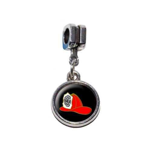 ��Fire Abteilung auf Schwarz Italian europäischen Euro-Stil Armband Charm Bead–für Pandora, Biagi, Troll,, Chamilla,, andere (Fire Fighter Kostüme)
