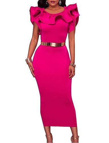YFLTZ Damen Party Slim Kleid Midi, Fuchsia, XL