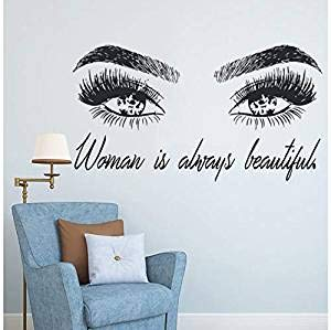 Your boy-HT Frau Make Up Wandaufkleber Auge Wimpern Wandtattoo Wimpern Extensions Beauty Shop Decor Augenbrauen Brauen Wandbild Schönheit Geschenk 77X42 cm